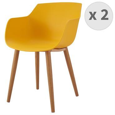 ANDREA-Chaise scandinave curry pied métal effet bois