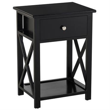 Table de chevet style cosy croix latérales tiroir et étagère bois