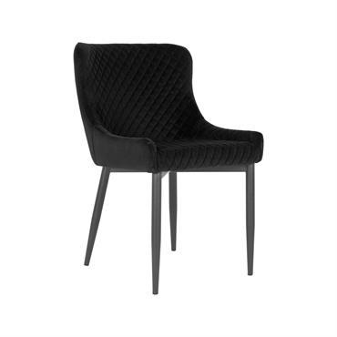 Chaise confortable en velours matelassé Noir