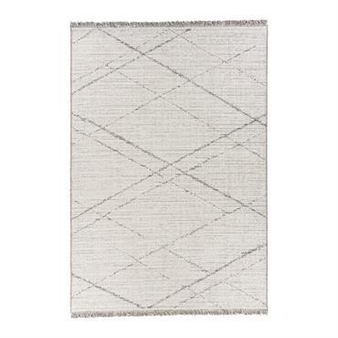 Tapis rayé design en polypropylène crème 130x190