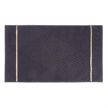 Tapis de bain en coton gris broderie dorée 50x80
