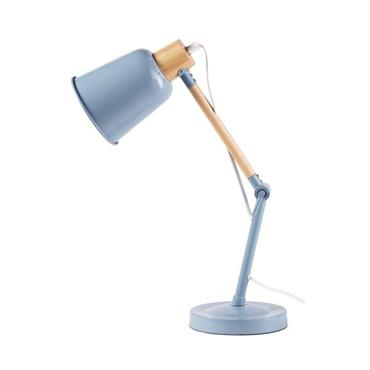 Lampe de bureau en métal bleu et hévéa