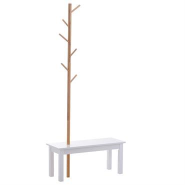 Banc porte-manteaux 2 en 1 blanc bois bambou