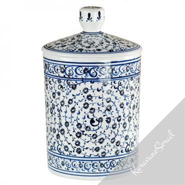 Pots et boîtes en céramique ottomane de tradition Iznik. Décors colorés et élégants.  Domozoom