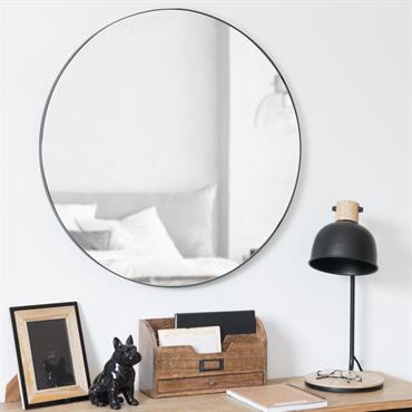 Miroir rond en métal noir D70