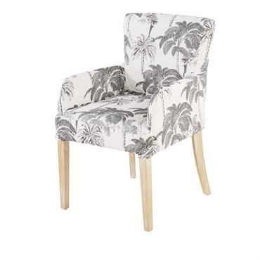 Housse de fauteuil en coton blanc imprimé palmiers