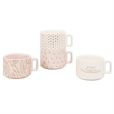 Coffret 4 tasses en faïence blanche et rose