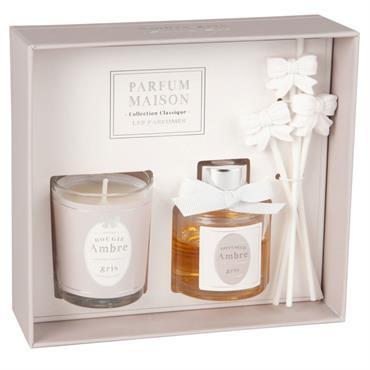 Coffret bougie parfumée et diffuseur de parfum ambre 30 ML