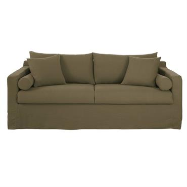 Canapé 4 places en lin vert kaki Francisco