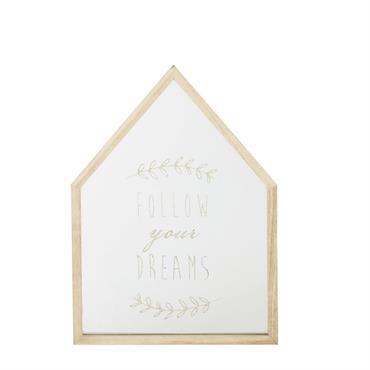 Miroir maison imprimé doré 23x32