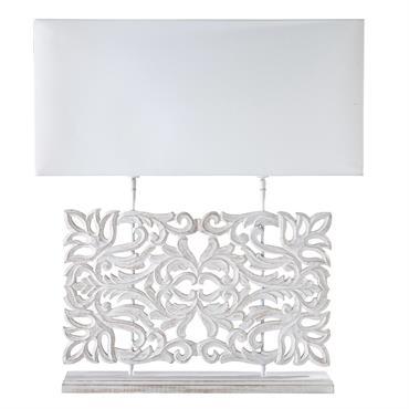 Lampe sculptée et abat-jour blanc