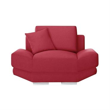 Fauteuil 1 place toucher lin rouge glamour