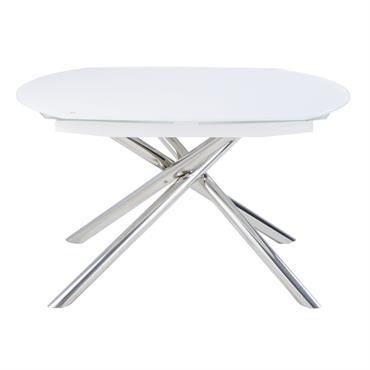 Table à manger extensible 8/10 personnes en acier et verre blanc L130/190 Astra