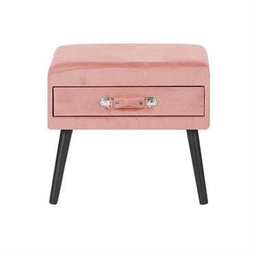 Table de chevet en velours côtelé rose