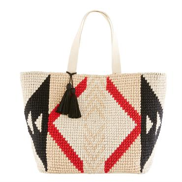 Avec son look actuel, le sac de plage en coton tressé motifs graphiques NIAMEY n'a rien à envier à ses confrères. Grâce à son grand volume de rangement et sa ...