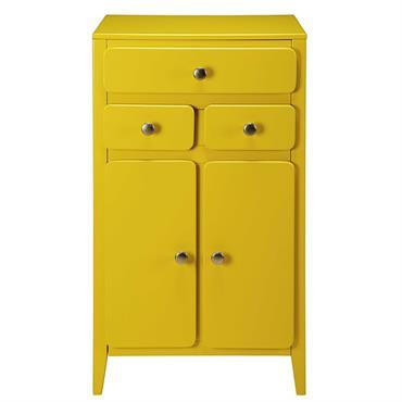 Meuble d'entrée 2 portes 3 tiroirs jaune moutarde Thelma