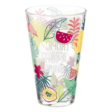 Chope en verre imprimé tropical