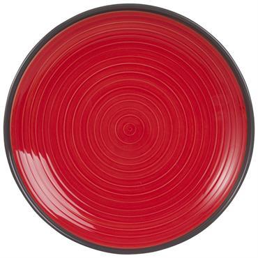 Assiette plate en faïence rouge