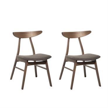Lot de 2 chaises en tissu gris foncé