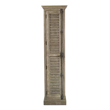 Meuble colonne de salle de bains 1 porte en pin recyclé grisé