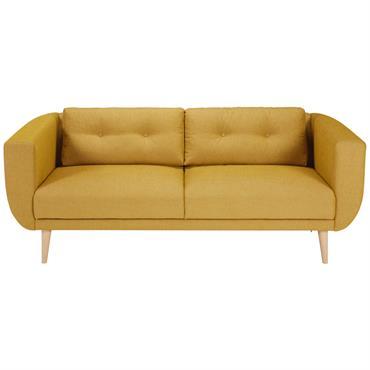 Canapé 3 places en tissu jaune moutarde Gaby