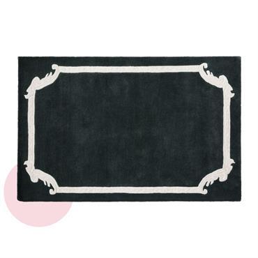 Tapis en laine noire et écrue imprimée 140x200 Chantal Thomass
