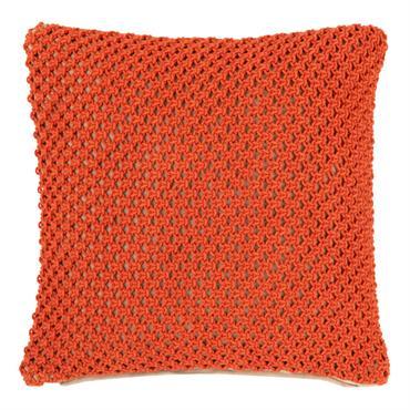 Housse de coussin en coton orange à motifs 40x40