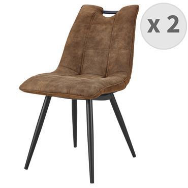 HANDY-Chaise Microfibre vintage brun pieds métal noir
