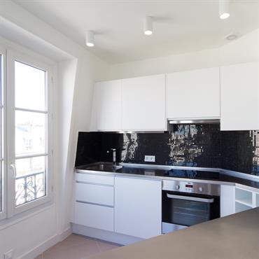 Réhabilitation d'un appartement, 49m², Paris. Conception, maitrise d'ouvrage.  Domozoom
