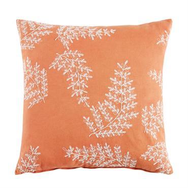 Coussin brodé en coton rouge motifs feuilles 45x45