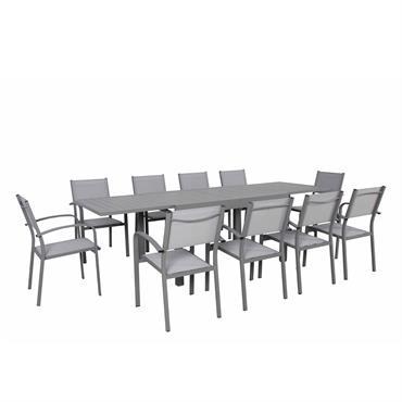Ensemble de jardin 10 places extensible en aluminium gris