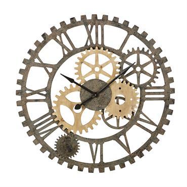 Horloge rouages en sapin et métal noir D100