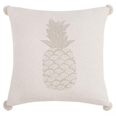 Housse de coussin en coton écru imprimé ananas 40x40