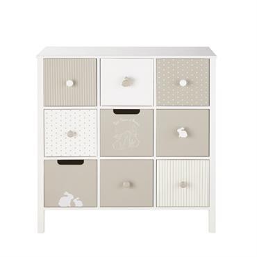 Cabinet 9 tiroirs blanc et taupe à motifs Bulle