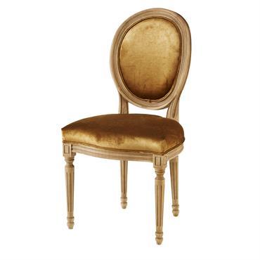 Chaise médaillon en velours ocre et chêne massif Louis