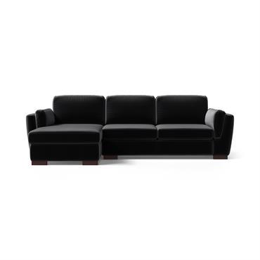 Canapé d'angle gauche 4 places en velours noir