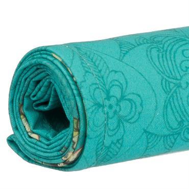 Toile de transat prête à poser imprimé fleuri turquoise