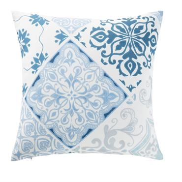 Coussin d'extérieur motifs carreaux de ciment bleus et blancs 45x45