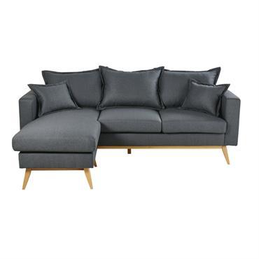 Canapé d'angle style scandinave 4/5 places gris ardoise