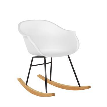 Chaise à bascule moderne blanche. La chaise à bascule est une réinterprétation moderne du Rocking chair classique, qui reste toutefois confortable comme aux bons vieux temps. La courbe du dossier ...