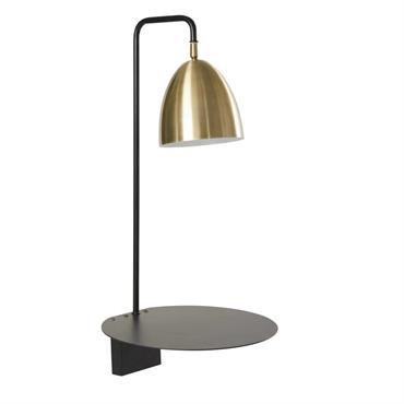 Applique étagère en métal noir abat-jour doré