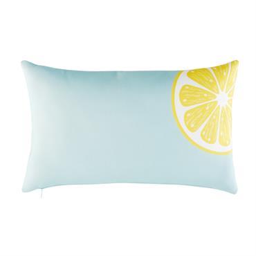 Coussin d'extérieur bleu imprimé citron jaune 30x50