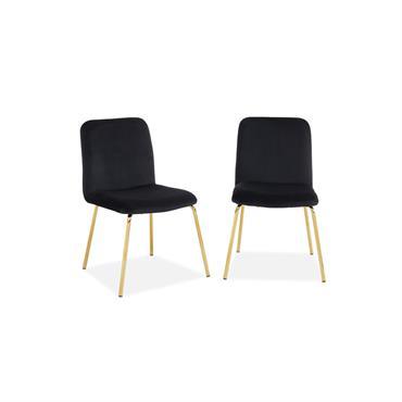 Lot de 2 chaises en velours noir piètement en métal doré