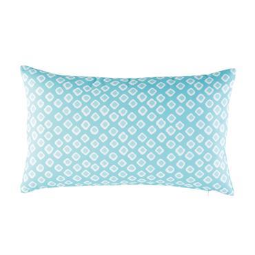 Coussin d'extérieur bleu motifs graphiques blancs 30x50