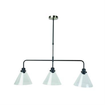 Suspension 3 lumières métal/verre L95cm