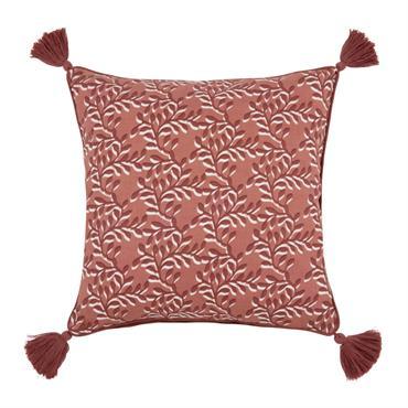 Housse de coussin en coton rouge à motifs 40x40