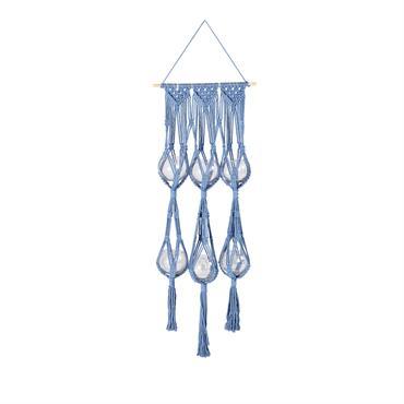 Suspension en macramé bleu indigo 6 pots en verre