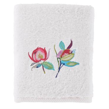 Le drap de bain brodé Paraïso est composé à 100% de bouclette de coton 600 g/m². Jeux de brillance au bas de l'éponge pour mettre en scène la borderie florale ...
