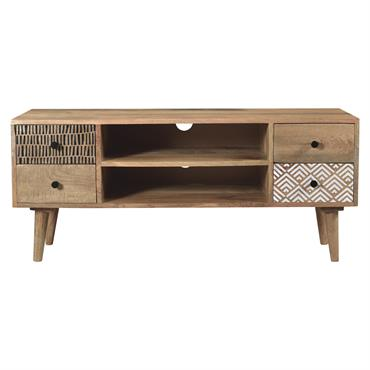 Meuble TV en bois 2 niches 4 tiroirs à motifs