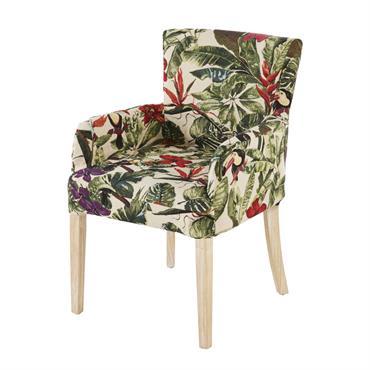 Housse de fauteuil imprimé végétal multicolore